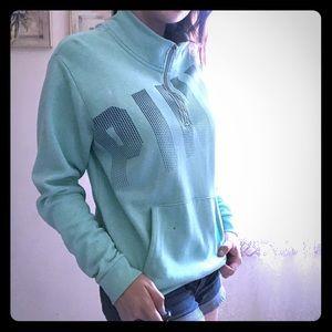 PINK quarter zip-up mint sweatshirt